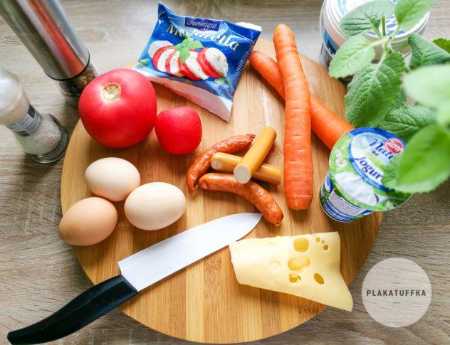Składniki na jajeczne muffiny z warzywami na zdrowie